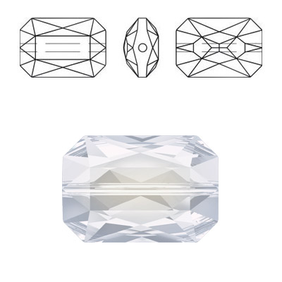 Crystal Swarovski 5515, Emerald Cut Bead. White Opal color. 14x9mm size
