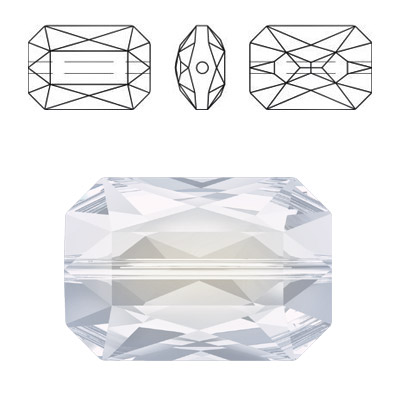 Crystal Swarovski 5515, Emerald Cut Bead. White Opal color. 18x12mm size