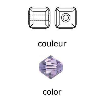 Crystal Swarovski 5601, Cube Bead. Violet color. 4mm size.