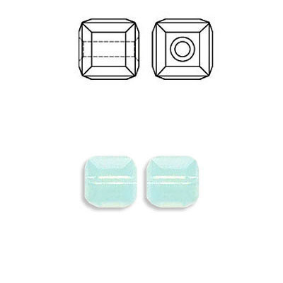 Crystal Swarovski 5601, Cube Bead. Pacific Opal color. 6mm size.