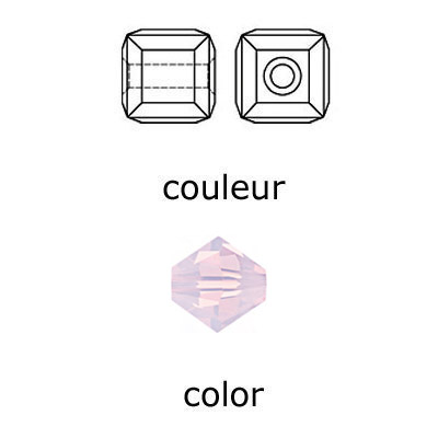 Crystal Swarovski 5601, Cube Bead. Rose Water Opal color. 6mm size.