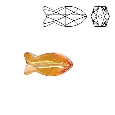 Crystal Swarovski 5727, Fish Bead. Crystal Copper coating. 14mm size