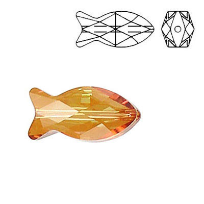 Crystal Swarovski 5727, Fish Bead. Crystal Copper coating. 18mm size