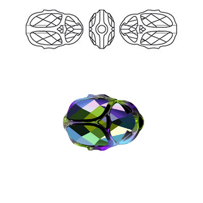 Crystal Swarovski 5728, Scarab Bead. Crystal Scarabaeus Green 2X coating. 12mm size