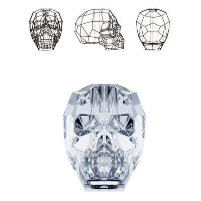 Crystal Swarovski 5750, Skull Bead. Silver coating. 19mm