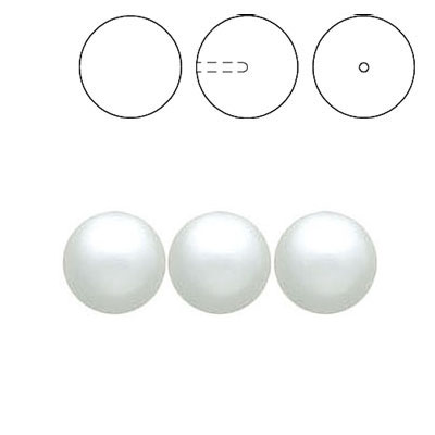 Swarovski pearls, half drilled, white, 8mm size