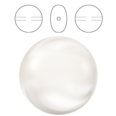 Swarovski Elements crystal coin pearls 5860, drilled, 16mm, white color
