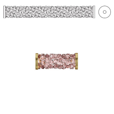 Crystal Swarovski 5950, Fine Rocks Tube Bead with ending. Vintage Rose color. Gold plate. 15mm size
