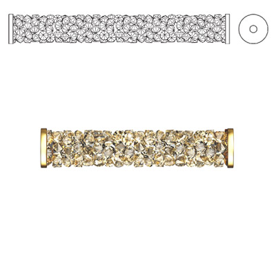 Crystal Swarovski 5950, Fine Rocks Tube Bead with ending. Crystal Golden Shadow coating. Gold plate. 15mm size