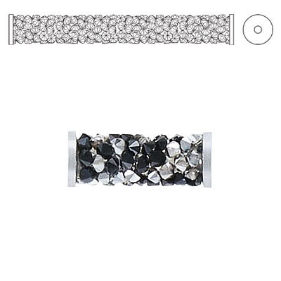 Crystal Swarovski 5950, Fine Rocks Tube Bead with ending. Jet and Crystal Metallic. Stainless steel. 15mm size