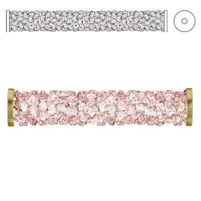 Crystal Swarovski 5950, Fine Rocks Tube Bead with ending. Vintage Rose color. Gold plate. 30mm size