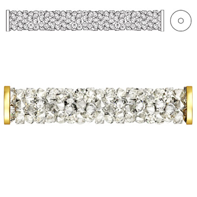 Crystal Swarovski 5950, Fine Rocks Tube Bead with ending. Crystal Moonlight coating. Gold plate. 30mm size