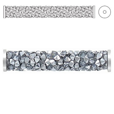 Crystal Swarovski 5950, Fine Rocks Tube Bead with ending. Crystal Light Chrome coating. Stainless steel. 30mm size