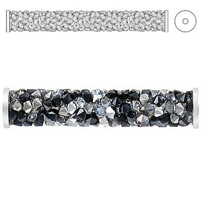 Crystal Swarovski 5950, Fine Rocks Tube Bead with ending. Jet and Crystal Metallic. Stainless steel. 30mm size