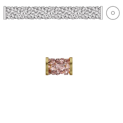 Crystal Swarovski 5950, Fine Rocks Tube Bead with ending. Vintage Rose color. Gold plate. 8mm size