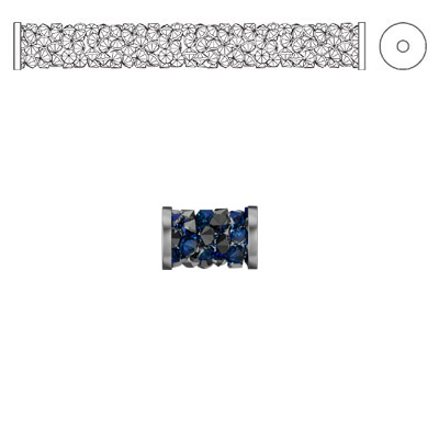 Crystal Swarovski 5950, Fine Rocks Tube Bead with ending. Crystal Bermuda Blue coating. Stainless steel. 8mm size