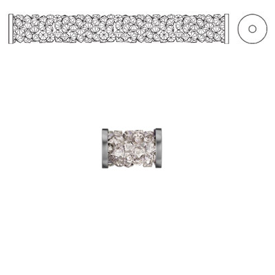 Crystal Swarovski 5950, Fine Rocks Tube Bead with ending. Crystal Moonlight coating. Stainless steel. 8mm size