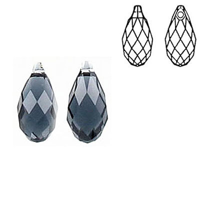 Crystal Swarovski 6010, Briolette Pendant. Graphite color. 11x5mm size.