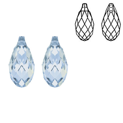 Crystal Swarovski 6010, Briolette Pendant. Crystal Blue Shade coating. 13x6mm size.