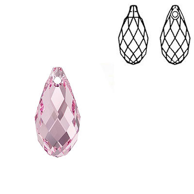 Crystal Swarovski 6010, Briolette Pendant. Light Rose color. 17x8mm size.