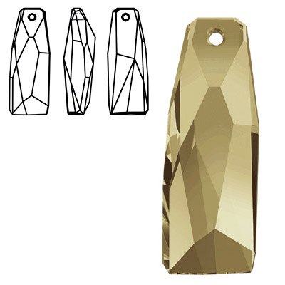 Crystal Swarovski 6019/G, Crystalactite Petite (Partly Frosted) Pendant. Crystal Golden Shadow coating. 35mm size