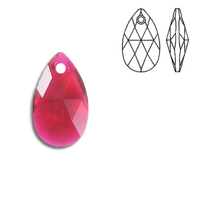 Crystal Swarovski 6106, Pear-shaped Pendant. Scarlet color. 16mm size.