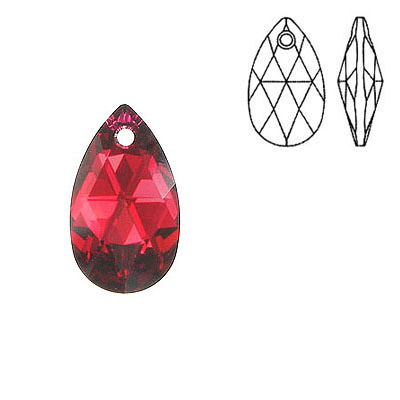 Crystal Swarovski 6106, Pear-shaped Pendant. Silver foil. Scarlet color. 16mm size.