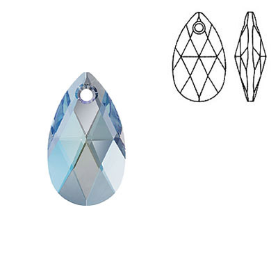 Crystal Swarovski 6106, Pear-shaped Pendant. Aquamarine Shimmer coating. 16mm size.