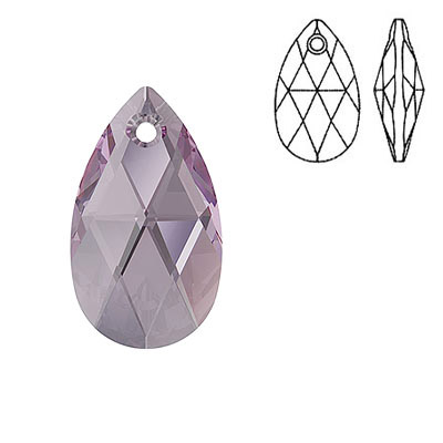 Crystal Swarovski 6106, Pear-shaped Pendant. Iris color. 22mm size.
