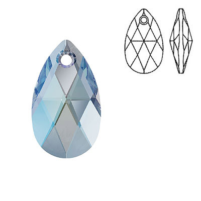 Crystal Swarovski 6106, Pear-shaped Pendant. Aquamarine Shimmer coating. 22mm size.