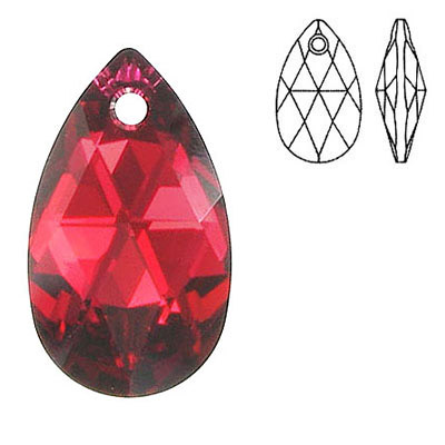 Crystal Swarovski 6106, Pear-shaped Pendant. Silver foil. Scarlet color. 28mm size.