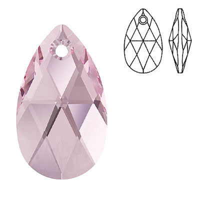 Crystal Swarovski 6106, Pear-shaped Pendant. Light Rose color. 28mm size.