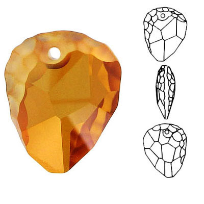 Crystal Swarovski 6190, Rock Pendant Pendant. Crystal Copper coating. 23mm size
