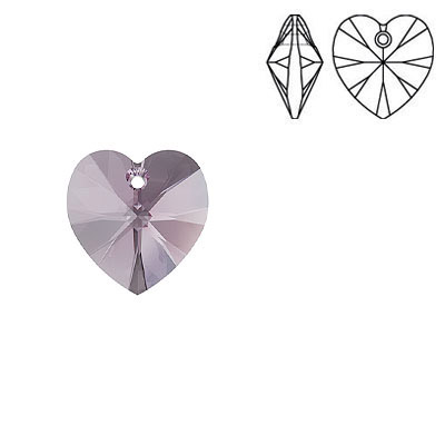 Crystal Swarovski 6228 (6202), Xilion Heart Pendant. Iris color. 10x10mm size.