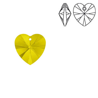 Crystal Swarovski 6228 (6202), Xilion Heart Pendant. Yellow Opal color. 10x10mm size.