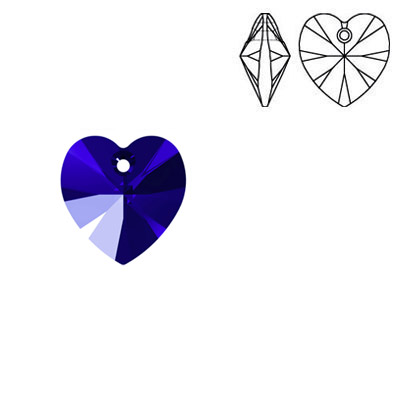 Crystal Swarovski 6228 (6202), Xilion Heart Pendant. Majestic Blue color. 10x10mm size.