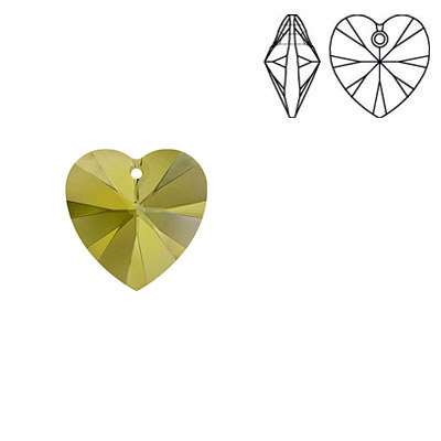 Crystal Swarovski 6228 (6202), Xilion Heart Pendant. Crystal Metallic Sunshine coating. 10x10mm size.