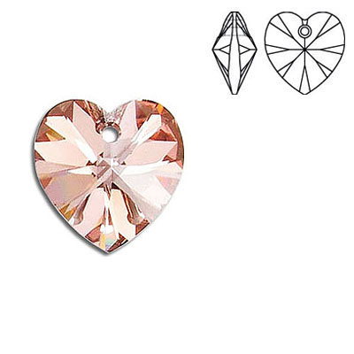 Crystal Swarovski 6228 (6202), Xilion Heart Pendant. Red Gold coating. 14x14mm size.