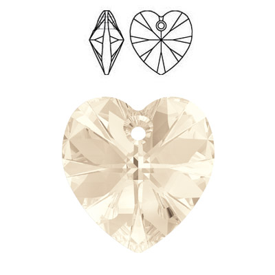 Crystal Swarovski 6228 (6202), Xilion Heart Pendant. Light Silk color. 14x14mm size.
