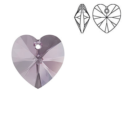 Crystal Swarovski 6228 (6202), Xilion Heart Pendant. Iris color. 14x14mm size.
