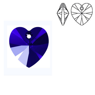 Crystal Swarovski 6228 (6202), Xilion Heart Pendant. Majestic Blue color. 14x14mm size.