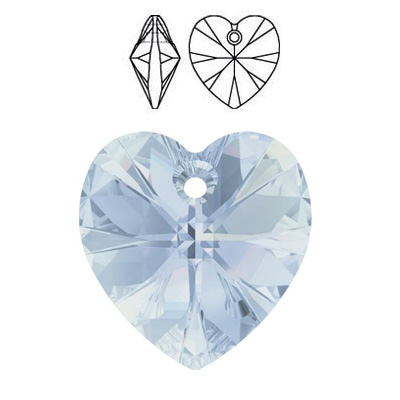 Crystal Swarovski 6228 (6202), Xilion Heart Pendant. Crystal Blue Shade coating. 14x14mm size.