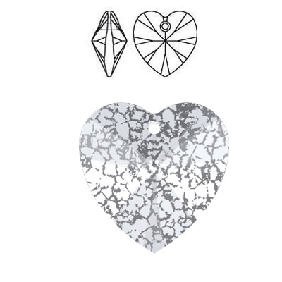 Crystal Swarovski 6228 (6202), Xilion Heart Pendant. Crystal Silver Patina coating. 14x14mm size.