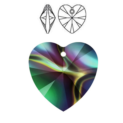 Crystal Swarovski 6228 (6202), Xilion Heart Pendant. Crystal Rainbow Dark coating. 14x14mm size.