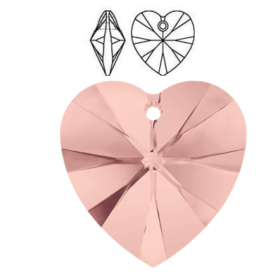 Crystal Swarovski 6228 (6202), Xilion Heart Pendant. Blush Rose color. 18x17mm size.