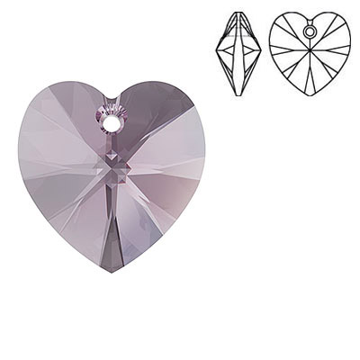 Crystal Swarovski 6228 (6202), Xilion Heart Pendant. Iris color. 18x17mm size.