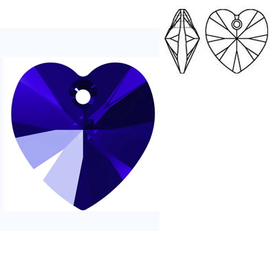 Crystal Swarovski 6228 (6202), Xilion Heart Pendant. Majestic Blue color. 18x17mm size.