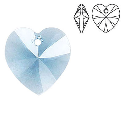 Crystal Swarovski 6228 (6202), Xilion Heart Pendant. Indian Sapphire color. 18x17mm size.