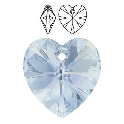 Crystal Swarovski 6228 (6202), Xilion Heart Pendant. Crystal Blue Shade coating. 18x17mm size.