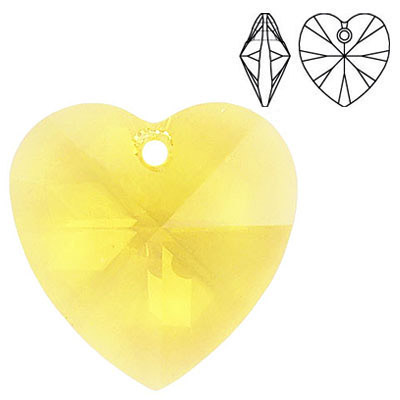 Crystal Swarovski 6228 (6202), Xilion Heart Pendant. Light Topaz color. 28mm size